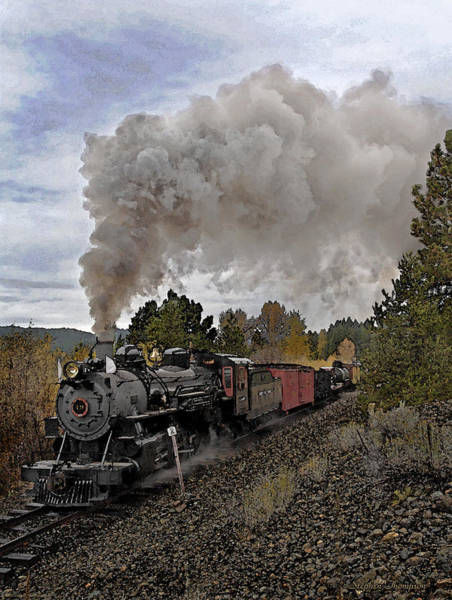 Freight Trains Painting - Svry Fall Freight Watercolor by Stephen  Thompson