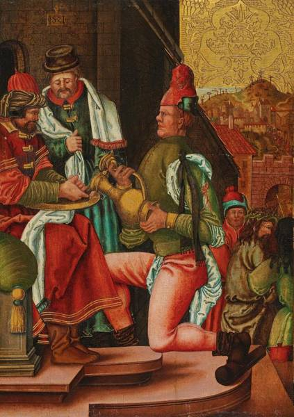 Pontius Pilate Wall Art - Painting - Swabian Master, Circa 1520 Pontius Pilate Washes His Hands Based On The Gospel Of Matthew, by Celestial Images