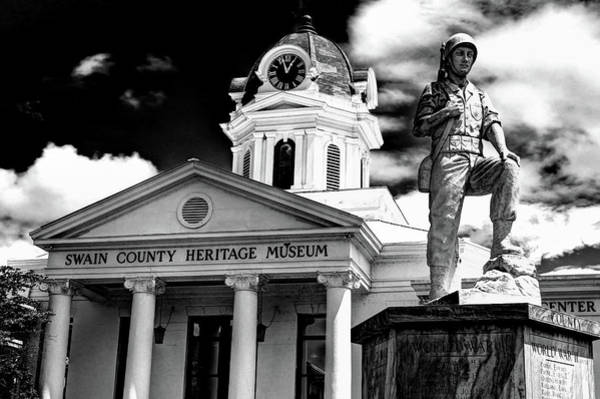Photograph - Swain County Heritage Museum Bryson City Nc II In Black And White by Carol Montoya