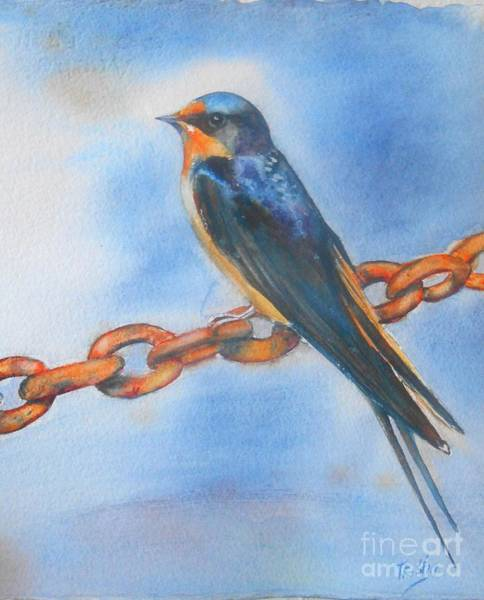 Rusty Chain Wall Art - Painting - Swallow by Patricia Pushaw