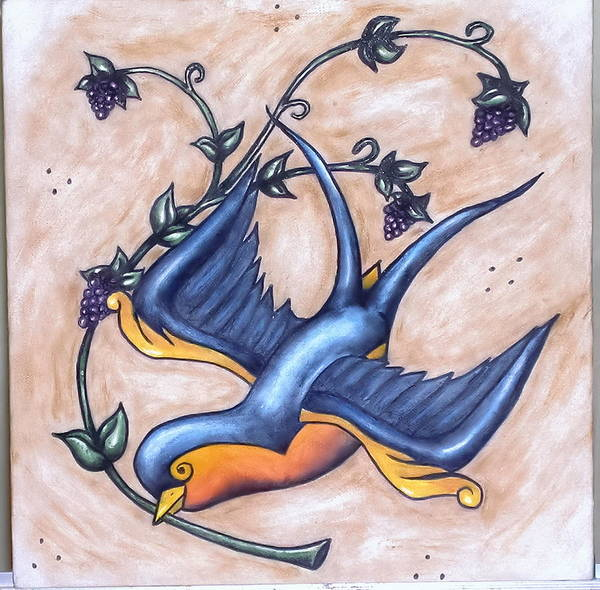 Tattoo Flash Painting - Swallow by Ryan P