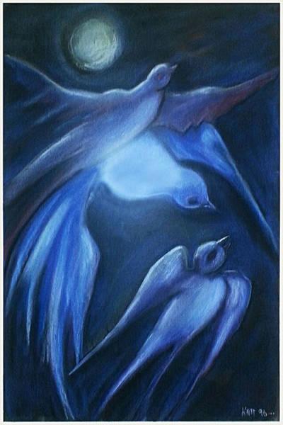 Pastel - Swallows by Katt Yanda