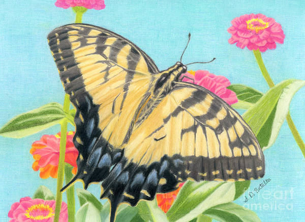 Close-up Painting - Swallowtail Butterfly And Zinnias by Sarah Batalka