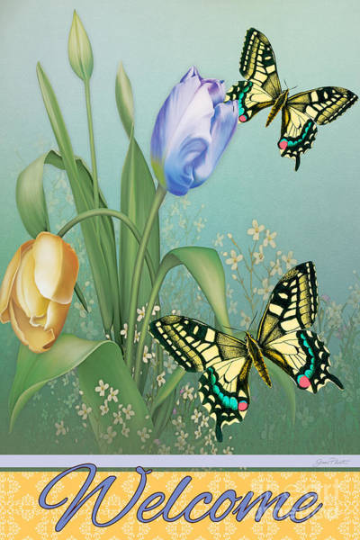 Tulip Bloom Painting - Swallowtail Welcome-jp2823 by Jean Plout