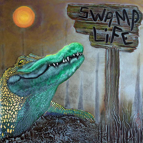 Gator Wall Art - Painting - Swamp Life by Laura Barbosa