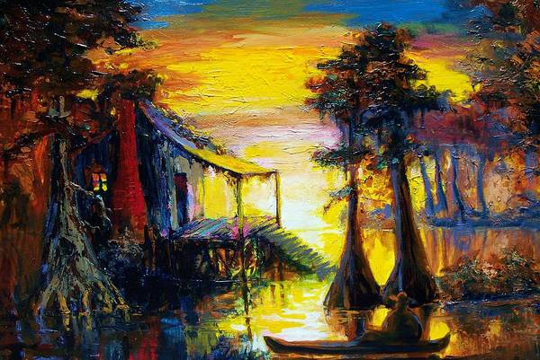 Music City Painting - Swamp Sunset by Saundra Bolen Samuel