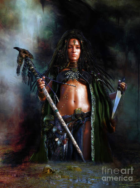 Black Magic Woman Wall Art - Digital Art - Swamp Witch by Shanina Conway