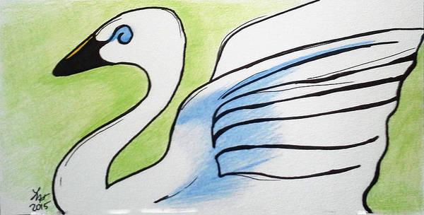 Drawing - Swan 2015 by Loretta Nash