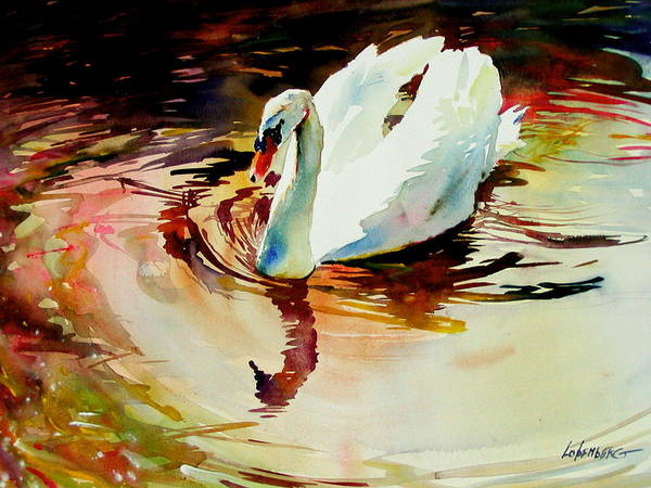 Painting - Swan At Sunset  by David Lobenberg
