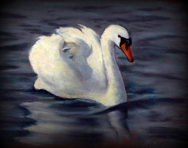 Wall Art - Pastel - Swan In Oil Pastel by Joyce Geleynse