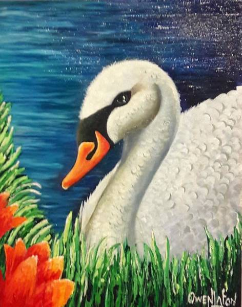 Painting - Swan In Pond by Owen Lafon