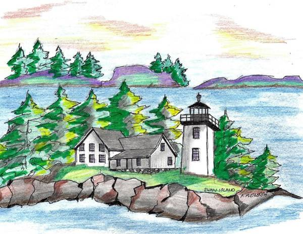 Arcadia Drawing - Swan Island Lighthouse by Paul Meinerth