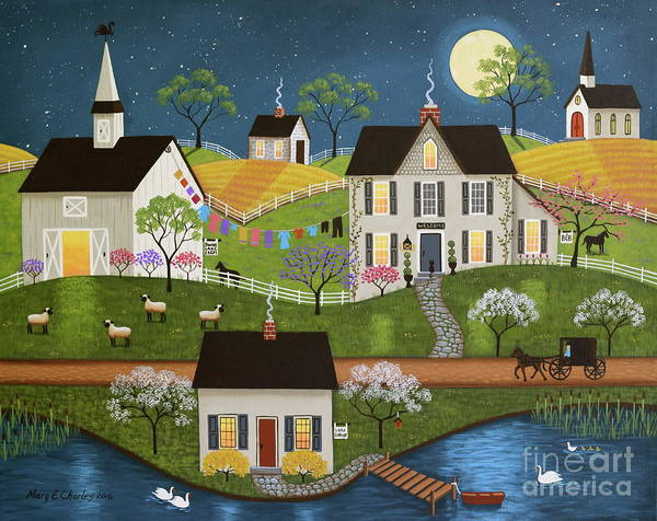 Clothesline Painting - Swan Lake Farm by Mary Charles