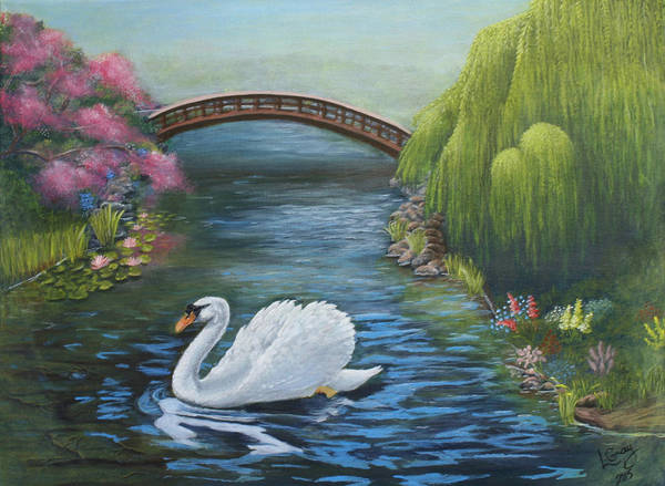 Trumpeter Swan Painting - Swan Lake by Louise Gray