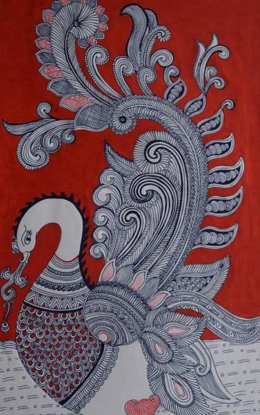 Kalamkari Painting - Swan by M Ande