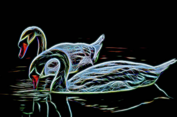Processing Mixed Media - Swangs Couple On The Lake Neon Color by Petro Guliaiev