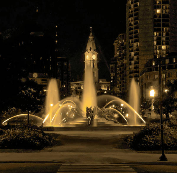 Photograph - Swann Fountain And City Hall - Philadelphia In Sepia by Bill Cannon