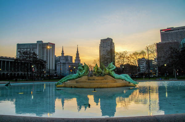 Wall Art - Photograph - Swann Fountain - Philadelphia - Coming Dawn by Bill Cannon