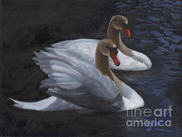 Wall Art - Painting - Swans by Gloria Condon