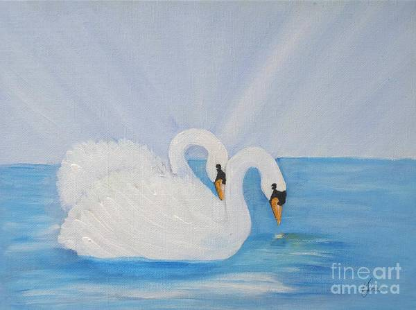 Swans On Open Water Art Print