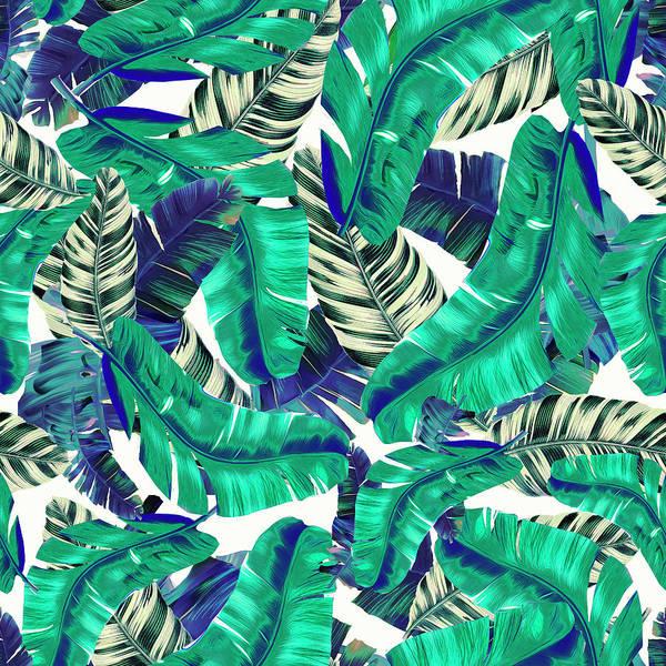 Banana Leaf Mixed Media - Swaying Palms Blue Green, Banana Leaf by Chrissy Ink