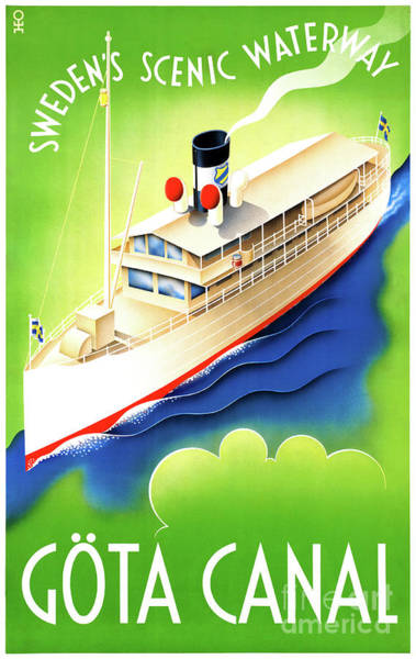 European Vacation Mixed Media - Sweden Gota Canal Restored Vintage Travel Poster by Vintage Treasure