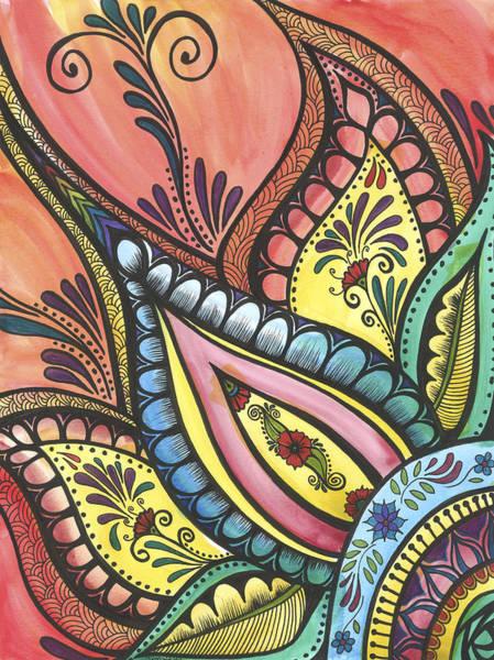 Swirl Drawing - Swedish Flower by Jenn Wilson