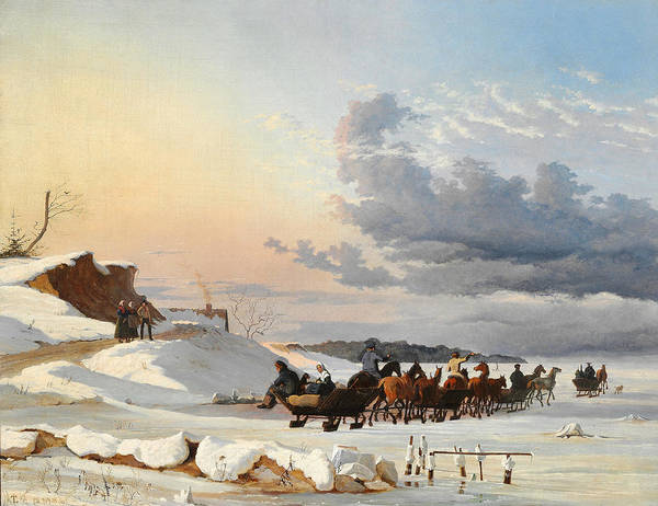 Painting - Swedish Sledges On Their Way Back After Having Sold Goods In Copenhagen by Johan Thomas Lundbye