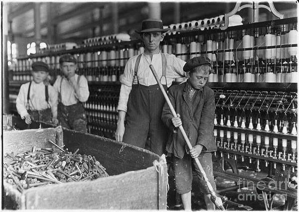 Painting - Sweeper And Doffer Boys In Lancaster Cotton Mills by Lewis Hine