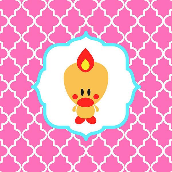 Digital Art - Sweet Angel Bird Cute Pink Trellis Decorative Pillow And Square Wall Art Print by Olga Davydova