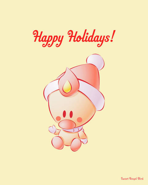 Digital Art - Sweet Angel Bird In A Santa Hat Happy Holidays Wall Art Print by Olga Davydova