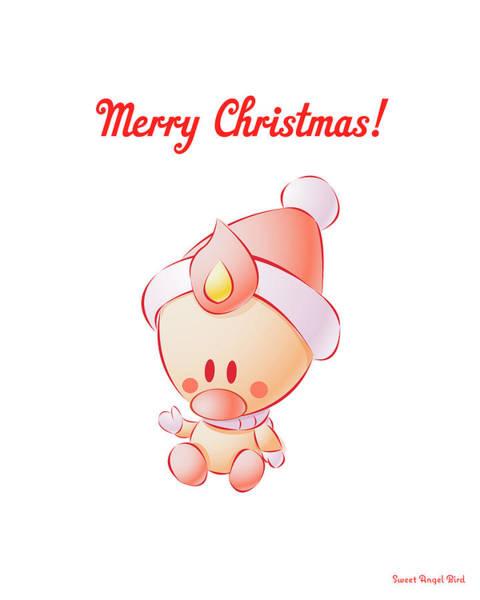 Digital Art - Sweet Angel Bird In A Santa Hat Merry Christmas Art Print by Olga Davydova