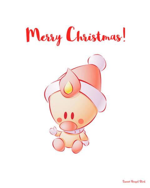 Digital Art - Sweet Angel Bird In A Santa Hat Merry Christmas Watercolor Art Print by Olga Davydova