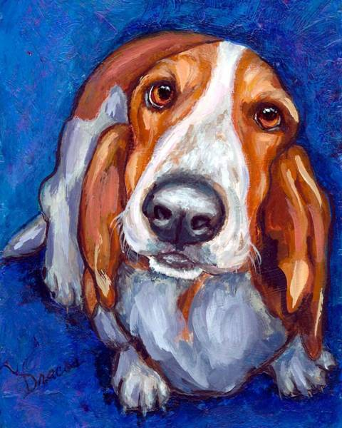 Basset Wall Art - Painting - Sweet Basset Looking Up On Blue by Dottie Dracos