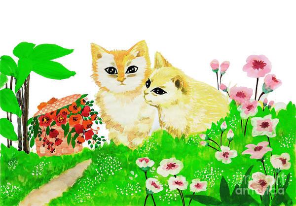 Painting - Sweet Couple Cats by Rasirote Buakeeree