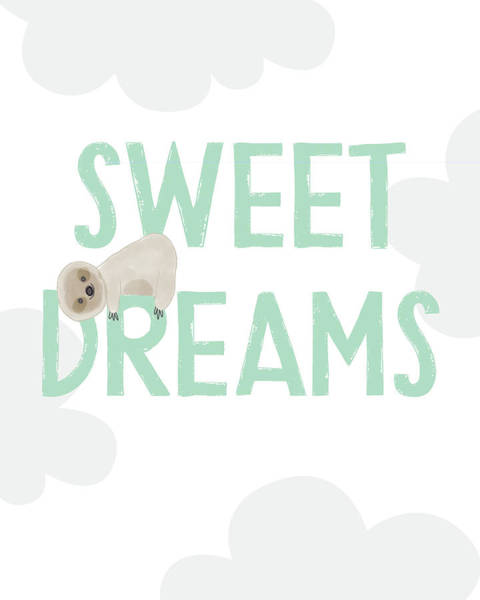 Sweet Dreams Sloth 2- Art By Linda Woods Art Print