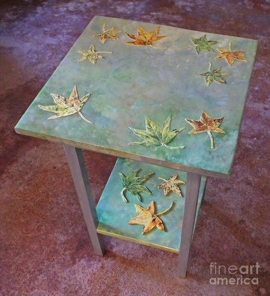 Mixed Media - Sweet Gum Leafed Table by Lizi Beard-Ward