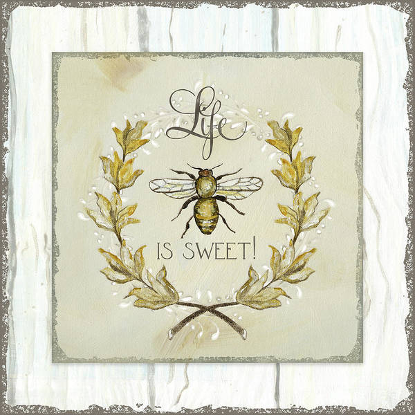 Painting - Sweet Life Farmhouse 1 Life Is Sweet Bee Laurel Leaf Over Shiplap Wood by Audrey Jeanne Roberts
