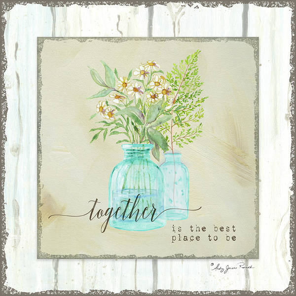 Painting - Sweet Life Farmhouse 2 Together Aqua Vintage Antique Bottles With Daisies Fern Frond Shiplap Wood by Audrey Jeanne Roberts