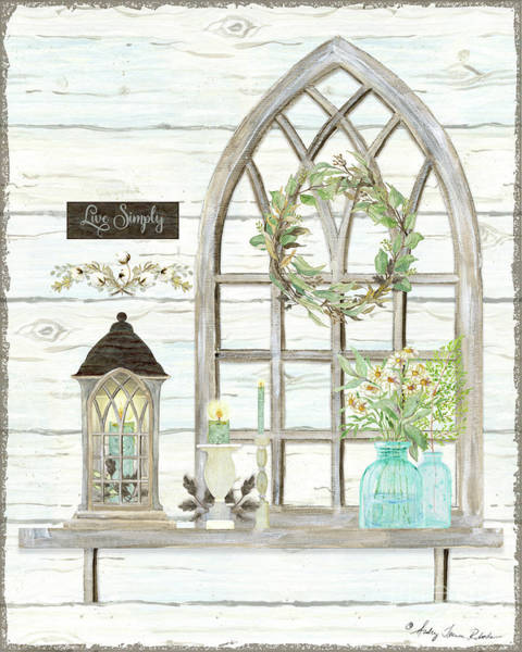 Country Style Painting - Sweet Life Farmhouse 3 Gothic Window Lantern Floral Shiplap Wood by Audrey Jeanne Roberts