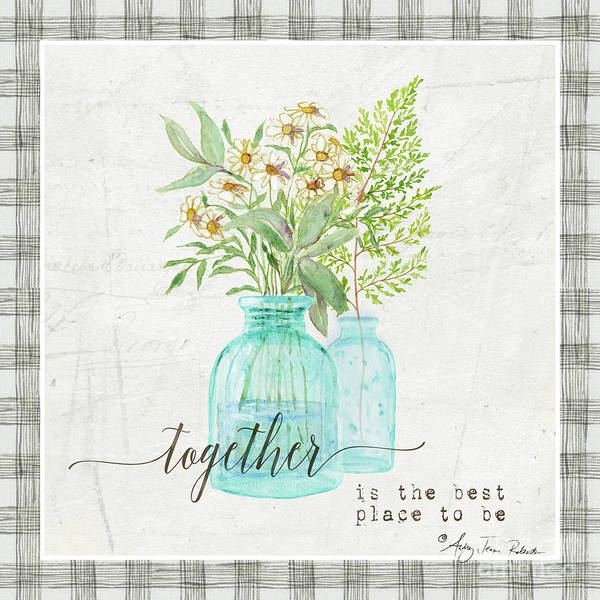 Painting - Sweet Life Farmhouse 6 Daisy Fern Frond Bouquet Vintage Aqua Glass Bottles by Audrey Jeanne Roberts