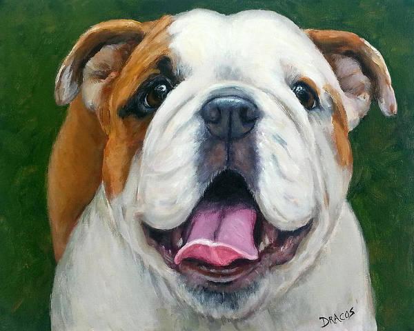 English Bulldog Painting - Sweet Little English Bulldog by Dottie Dracos