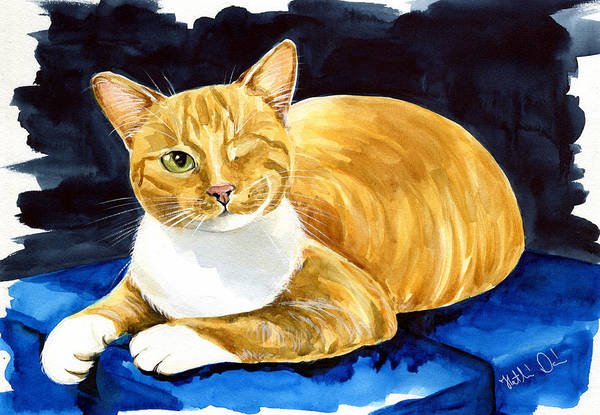 Painting - Sweet Melon - Ginger Tabby Cat Painting by Dora Hathazi Mendes