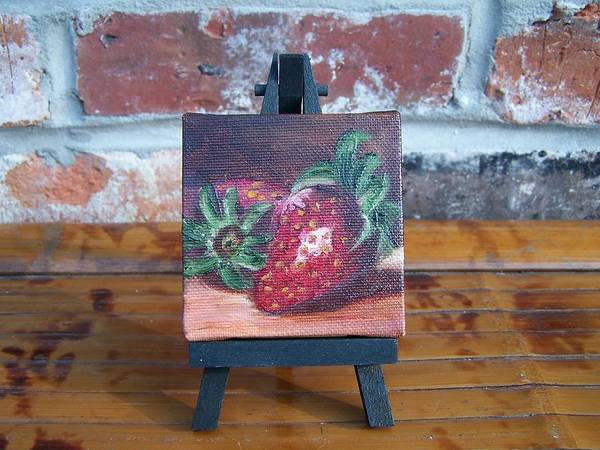 Painting - Sweet Pair Miniature With Easel by Susan Dehlinger