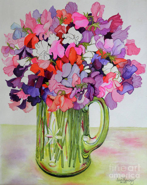 Wall Art - Painting - Sweet Peas In A Glass Jug by Joan Thewsey