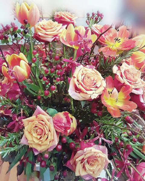 Garden Roses Digital Art - Sweet Roses And Tulips Bouquet by Irina Sztukowski