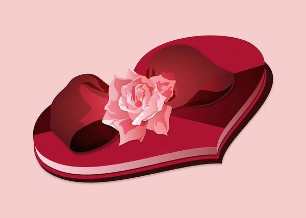 Digital Art - Sweetheart Candy Box With Pink Rose by MM Anderson