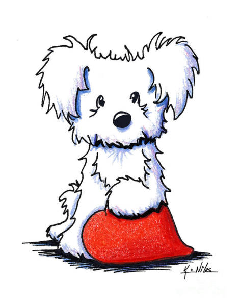 Wall Art - Drawing - Sweetheart Puppy by Kim Niles
