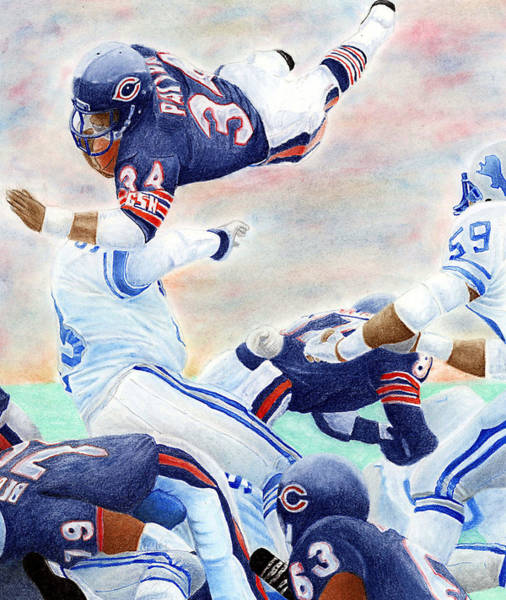 Football Players Wall Art - Pastel - Sweetness Over The Top by Lyle Brown