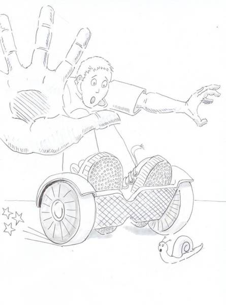 Drawing - Swegway Hoverboard Emergency Stop Cartoon by Mike Jory